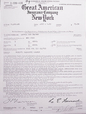 -Rare- 1964 -Roberto Clemente- Vintage Baseball Insurance Policy - from Estate!