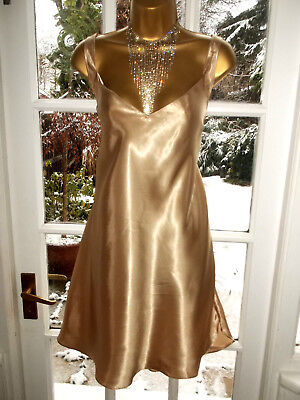 Vintage Style Glossy Slippery Liquid Gold Satin Slip Chemise Short Nightie UK22