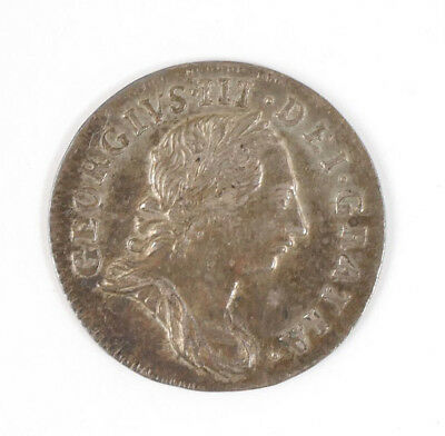 1762 England Great Britain British Silver 3 Pence George III Coin