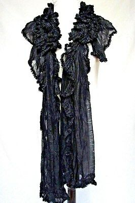 ANTIQUE 1800s VICTORIAN LONG FRILLY BLACK SILK RUFFLE NECK SCARF LAPPET COLLAR