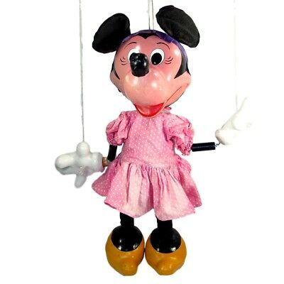 """Vintage DISNEY MINNIE MOUSE Store Display Puppet Pelham Marionette 25 1/4"""" Tall"""