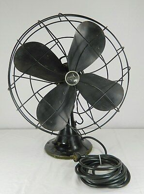 """Vintage Black Emerson Electric Type 91648-Ad 16"""" Oscillating 3 Speed Fan"""