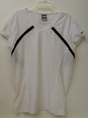 Nike Womens Fit Dry Black Border White Tennis Top 255759-100 L Large (12-14) EUC