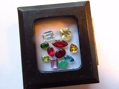 Natural Mixed Faceted Loose Gemstone Parcel Lot Colombian Emerald Diopside Red T