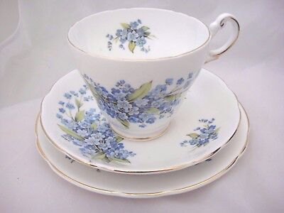 Pretty Tea Set Trio by Regency China With Forget-me-Not Pattern