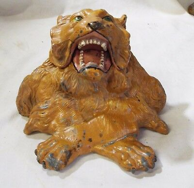 Old JENNINGS BROTHERS #451 Metal ROARING LION INKWELL w/ Clear Glass Insert