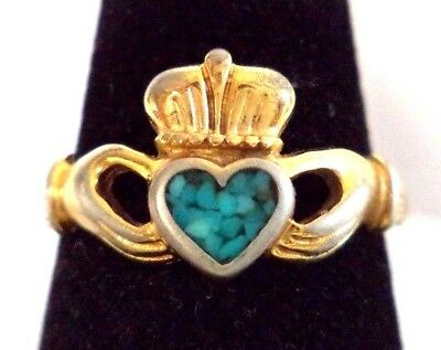 Stunning Vintage Estate Claddagh Crushed Turquoise Sz 8 Ring!! 8182F