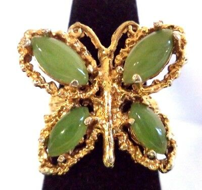 Stunning Vintage Estate Jade Gold Tone Butterfly Sz 6 Ring!! 8182O