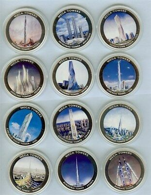 Mozambique 2010 Mega Towers 12 Medal Proof Set All Come In Capsules