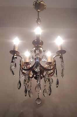 Antique 5 Arms Brass & Crystals Chandelier from 1950's