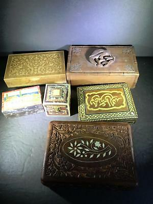 B) Vintage Lot 6 Wooden Mixed Boxes Jewelry Inlaid Carved