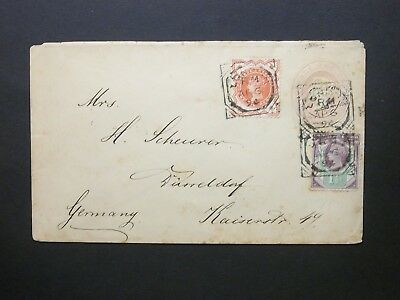 Late Fee Stationery uprated QV 1d Cover LONDON Fancy Geometric pmks to Germany