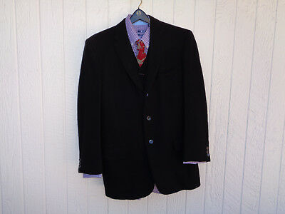 Gorgeous Vintage 1961 Custom Tailored 3 Piece heavy black Wool Suit Made USA 38R