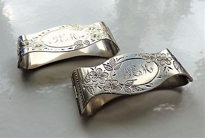 Pair Of Victorian Silver Napkin Clips Flower Engraved Shaped Napkin Ring Clips