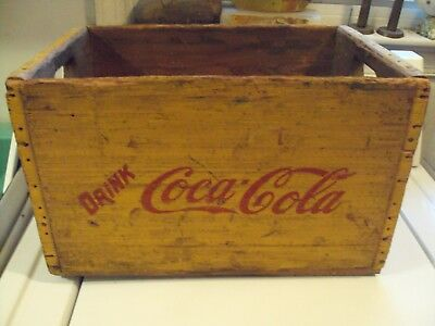 Wooden  Coca Cola Bottle Crate 16X10X10 YELLOW COLOR GOOD CONDITION