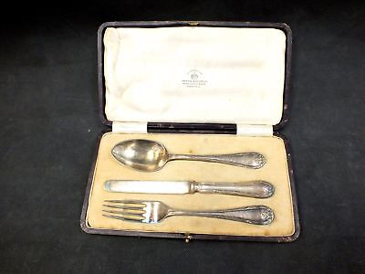 3pc Vintage MAPPIN & WEBB Sheffield Prince's Plate Cutlery Set in Box - B12