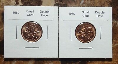 Canada 1969 Small Cents, Double Face and Double Date Variety Coins!!