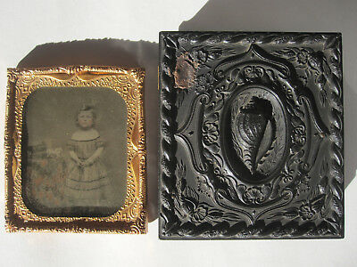 Antique Daguerreotype Gutta Percha Tinted Photo Cast Horse Toy Shell Union Case