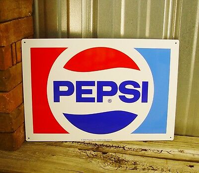 Pepsi Cola 1970'S Logo Pop Soda Metal Tin Sign Vintage Style Decor Retro Kitchen