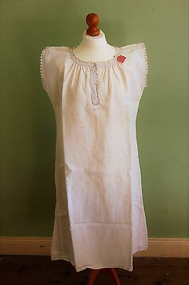 "LOT 2 Vintage FRENCH Pure Floppy LINEN Nightdresses White Size L XL 42"" 44"" Bust"
