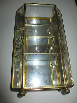 "Vintage 10"" Brass Etched Glass  Mirror Trinket Cabinet Shelf"