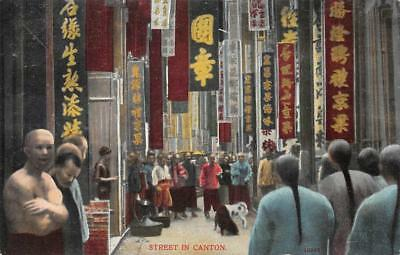 STREET IN CANTON CHINA POSTCARD (c. 1910)