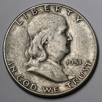 1951 S US Franklin Half Dollar 90% Silver