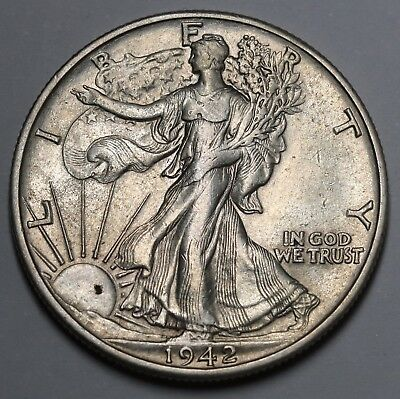 1942 D Walking Liberty Half Dollar 90% Silver Coin AU KM# 142