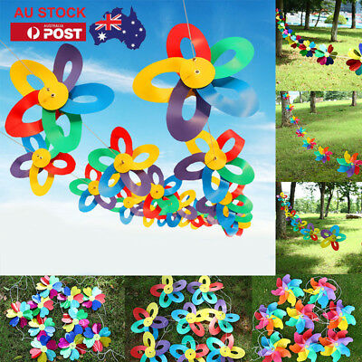 8M Wire 10pcs Rainbow Flower Windmill Spinner String Flag Wind Chime Outdoor