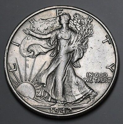 1942 S Walking Liberty Half Dollar 90% Silver Coin gEF KM# 142