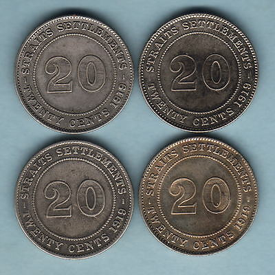 Straits Settlements. 1919 20 Cents x 4 Coins..  F+ -VF+