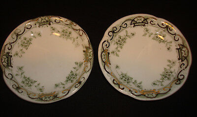 2 Vintage/Antique Johnson Bros Green Floral Swag Gold Detail Butter Pats Set