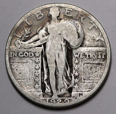 1929 US Standing Liberty Quarter 90% Silver Coin KM# 145