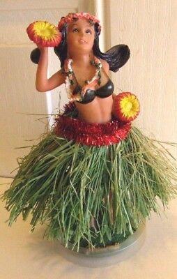 Vintage Dashboard Hula Girl Grass Skirt Ceramic Very Colorful 7 Inch Never Used