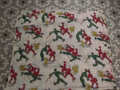 3 Yds Vintage Cotton Plisse Fabric w Cute Rag People & Dog Print - 34 Inch Width