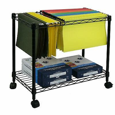 2 Tiers Layer Metal Rolling Mobile File Cart Office Supplies w/ Wheels Black