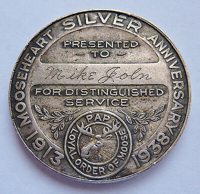 1913-38 LOYAL ORDER OF MOOSE ~ MOOSEHEART SILVER ANNIVERSARY ~ AWARD MEDAL 35-mm