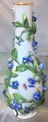 Meissen Germany Porcelain Vase W Encrusted Flowers Painted Insects