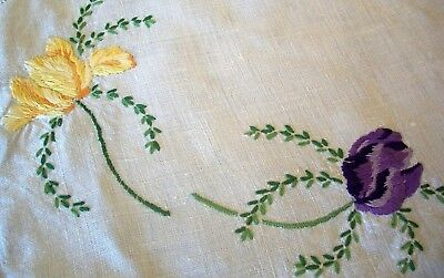 Vintage Linen Embroidered Tulips  Table Centre Doily