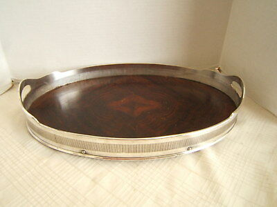 English Silverplate Gallery Tray With Burled Wood Very Nice
