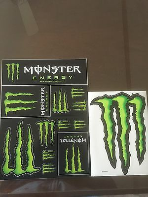 """New Monster Energy Sticker Sheet 12 Stickers And Bonus 9"""" Claw M Decal"""