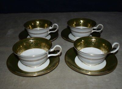 Rare! Beautiful Set Of 4 Wedgwood Dark Green Florentine Teacups & Saucers W/gold