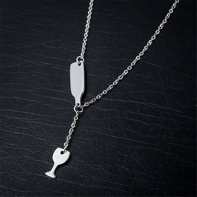 Women's Fashion Silver/Gold Beer Wine Stainless Steel Pendant Necklace Jewelry