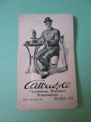 1904 Celluloid Notepad Buffalo NY Men's Clothing Store A.Weed & Co.w/Calendar