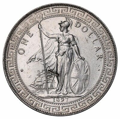 1897 Great Britain Trade $1 Dollar KM# T5 AU/UNC Coin RARE Chinese Counterstamp