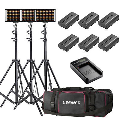 Neewer 3x Bi-color Dimmable 280 LED Video Light Kits with Stand Battery Charger