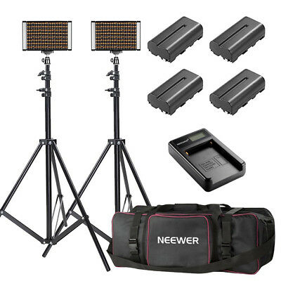 Neewer 2x Bi-color Dimmable 280 LED Video Light Kits with Stand Battery Charger