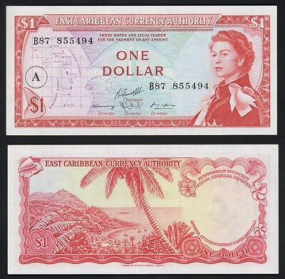 EAST CARIBBEAN STATES P-13h. (1965) One Dollar...  aU-UNC. Overprint A