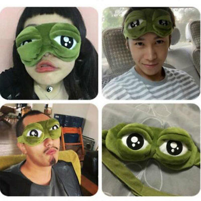 Travel 3D Frog Eye Mask Sleep Soft Padded Shade Cover Rest Relax Blindfold Fun