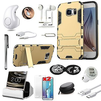 Gold Kickstand Case Cover Bluetooth Headset Accessory For Samsung Galaxy J7 2016